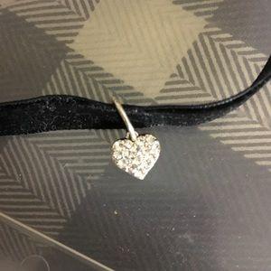 Black velvet choker with heart charm